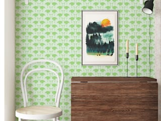 OSTRICH Wallpaper - Green:   by Estampe and Co