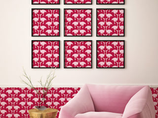 OSTRICH Wallpaper - Pink:   by Estampe and Co
