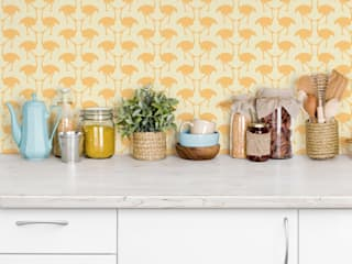 OSTRICH Wallpaper - Yellow:   by Estampe and Co