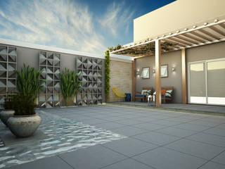Jardim l A+D Treez Arquitetura+Engenharia Lagos e Lagoas de jardins Ardósia Verde