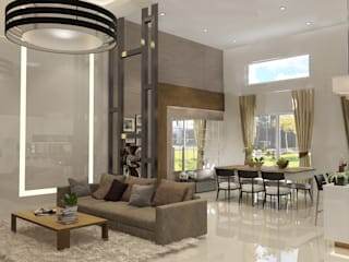 Living Room PEKA INTERIOR Ruang Keluarga Modern Kaca Brown