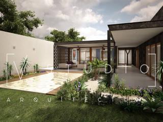 Área social: Albercas de jardín de estilo  por [V. Studio] Arquitectura