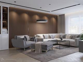 モダンデザインの リビング の Design interior OLGA MUDRYAKOVA モダン