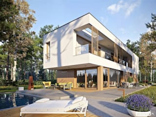 EX 17 W2 - nowoczesny dom z płaskim dachem Nowoczesne domy od Pracownia Projektowa ARCHIPELAG Nowoczesny
