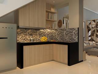 Project - Rumah Tinggal Babatan Pratama Vinch Interior Dapur built in Kayu Wood effect