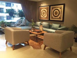 ANA ESTRADA DISEÑO INTERIOR Eclectic style living room Solid Wood Grey