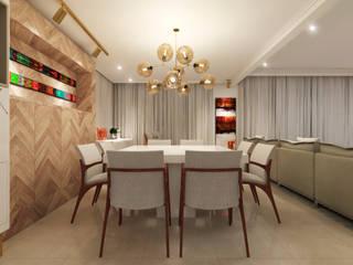 Living Room: Salas de jantar  por Flávia Kloss Arquitetura de Interiores