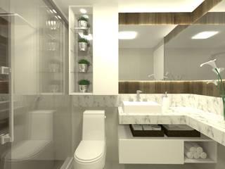 APARTAMENTO TD: Banheiros  por SPATIO ARQUITETURA E URBANISMO,Moderno