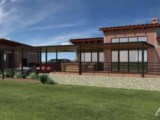 FACHADA NORTE: Casas de campo de estilo  por TANGENTE ARQUITECTURA LOCAL