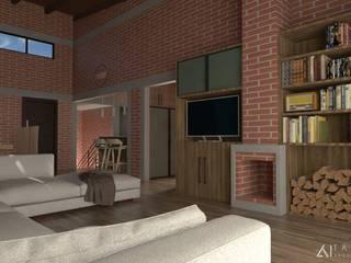 CABAÑA 1: Salas de estilo  por TANGENTE ARQUITECTURA LOCAL