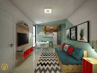 Sala de estar e Jantar e Cozinha integrada: Salas de estar  por Yuri Rebello - Arquitetura Consciente