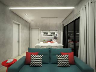 Sala de estar e jantar - Apt GD: Salas de estar  por Yuri Rebello - Arquitetura Consciente