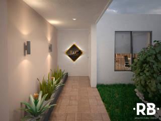 Acceso principal a oficinas: Estudios y oficinas de estilo  por RB Arquitectos