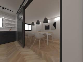 두공간을-- 한공간으로 인테리어 디자인 모던스타일 주방 by 디자인 이업 모던 솔리드 우드 멀티 컬러
