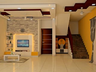 Mantri Webcity, Duplex 3 BHK - Mr. Vishal:  Living room by DECOR DREAMS