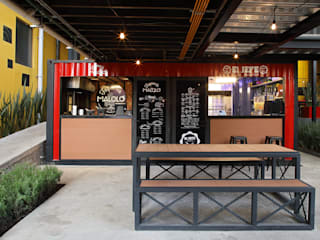 Barrio Satélite: Restaurantes de estilo  por Boutique de Arquitectura  (Sonotectura + Refaccionaria)