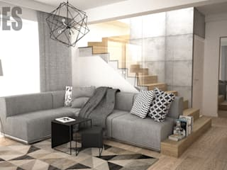 OES architekci Modern living room Concrete Grey
