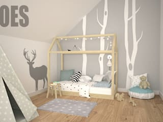 OES architekci Scandinavian style nursery/kids room Wood Grey