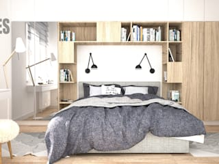OES architekci Scandinavian style bedroom Concrete White