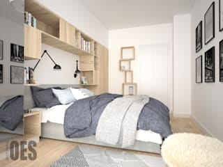 OES architekci Scandinavian style bedroom Concrete Blue
