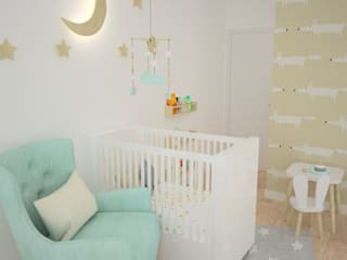OES architekci Modern Kid's Room Wood Green