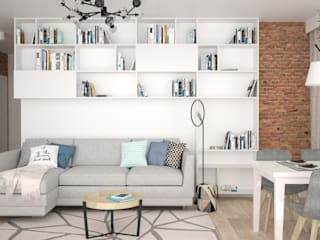 OES architekci Scandinavian style living room MDF White