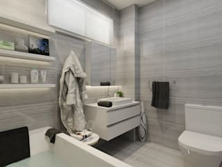 PRATIKIZ MIMARLIK/ ARCHITECTURE Salle de bain moderne Céramique Gris