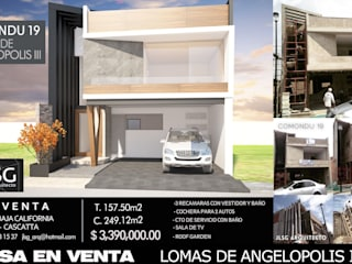 CASA HABITACION COMONDU 19 RESIDENCIAL LOMAS DE ANGELOPOLIS III PUEBLA, MEXICO JLSG Arquitecto Casas minimalistas