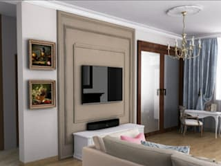 Преобразование типовой гостиной: Гостиная в . Автор – Elena Gorina&Ekaterina Serebriakova