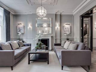 Kensington Town House Livings modernos: Ideas, imágenes y decoración de London Home Staging Ltd Moderno
