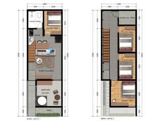 Denah lantai 1 & 2 Oleh SODA Indonesia Modern Kayu Lapis