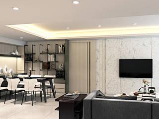 圓..方..宅 棠豐室內裝修設計工程有限公司 现代客厅設計點子、靈感 & 圖片