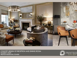 Concept Design of Reception and Dining room:  Living room by Prestige Architects By Marco Braghiroli