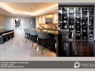 Concept Design of Kitchen:  Dining room by Prestige Architects By Marco Braghiroli
