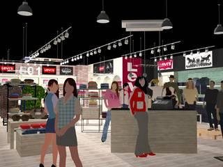 Local Comercial Levi´s Espacios comerciales de estilo moderno de Taller73 arquitectura, ingeniería e interiorismo Moderno