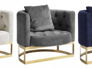Loungesessel Samt grau, creme-weiß, blau:   von MATZ-MÖBEL