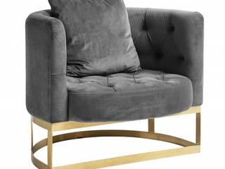 Samt Sessel Industriedesign grau: minimalistische Wohnzimmer von MATZ-MÖBEL