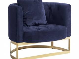Samt Sessel Industriedesign blau: minimalistische Wohnzimmer von MATZ-MÖBEL