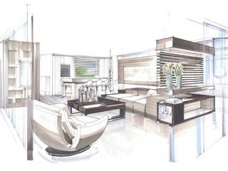 Colorierte Perspektive Wohnzimmer / Küche:   von KERN-DESIGN GmbH Innenarchitektur + Einrichtung