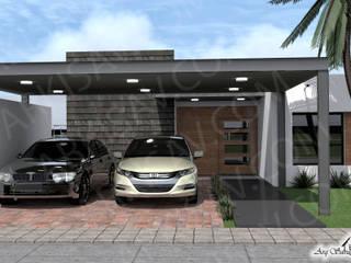 Fachada principal de la casa Maybelline: Casas unifamiliares de estilo  por Arkisav