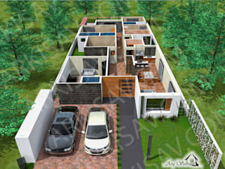 Una vista frontal sin losa: Casas unifamiliares de estilo  por Arkisav