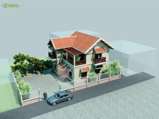 Biệt thự nhỏ bởi Công ty TNHH Thiết kế và Ứng dụng QBEST Nhiệt đới