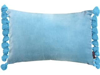 Terry Velvet Tassel Cushion Duck Egg Blue:   by Ragged Rose
