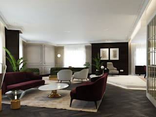 :  غرفة المعيشة تنفيذ ICONIC DESIGN STUDIO