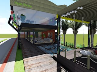 Lounge Hype Floripa Escritórios rústicos por Fabiana Bez | Arquitetura Contemporânea Rústico