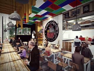 Black Canyon: Ruang Makan oleh Pr+ Architect, Industrial