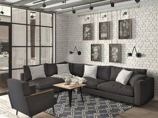 Квартира для молодой семейной  пары: Гостиная в . Автор – Yurov Interiors,