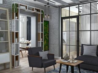Yurov Interiors Industrial style living room Bricks White