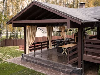 Творческая мастерская АRTBOOS Scandinavian style balcony, veranda & terrace Wood Brown