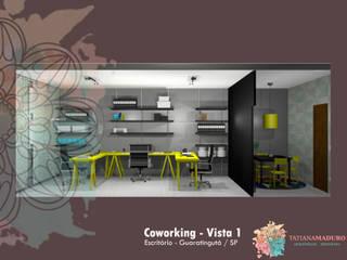 Coworking Cubo Amarelo: Espaços comerciais  por Tatiana Maduro Arquitetura . Interiores,Moderno
